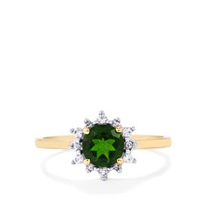 Chrome Diopside Ring with White Zircon in 9K Gold 1.09cts