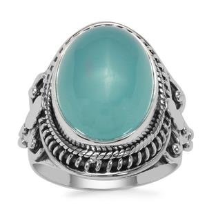 Imperial Aqua Chalcedony Ring in Sterling Silver 9cts