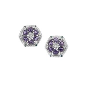 Bengal Iolite & Blue Diamond Sterling Silver Earrings ATGW 1.10cts