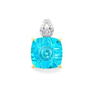 Lehrer QuasarCut Batalha Topaz Pendant with Diamond in 10k Gold 4.15cts