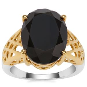 Black Spinel Ring in Two Tone Gold Plated Sterling Silver 9cts