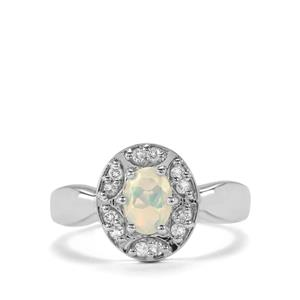 Ethiopian Opal & White Topaz Sterling Silver Ring ATGW 0.66cts