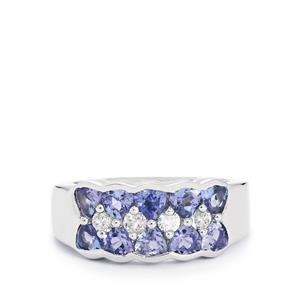 Tanzanite & White Topaz Sterling Silver Ring ATGW 1.89cts