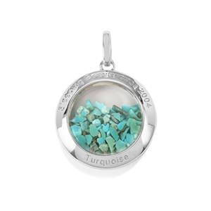 Sleeping Beauty Turquoise & Optic Quartz Sterling Silver Moments Pendant ATGW 11.75cts