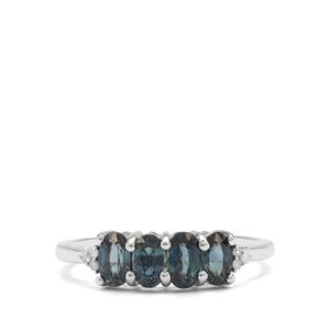 Australian Blue Sapphire & Diamond 9K White Gold Ring ATGW 1.34cts