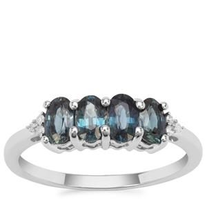 Australian Blue Sapphire Ring with Diamond in 9K White Gold 1.34cts