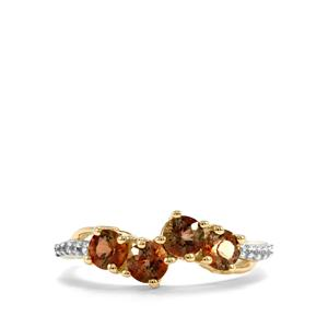 Sopa Andalusite & White Zircon 9K Gold Ring ATGW 1.12cts