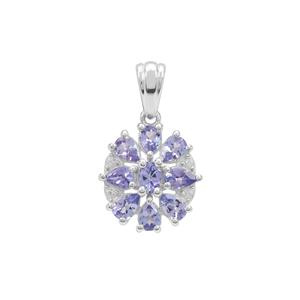Tanzanite Pendant with White Zircon in Sterling Silver 1.30cts