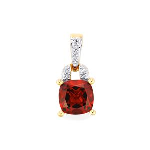 Rajasthan Garnet Pendant with Diamond in 10K Gold 1.79cts