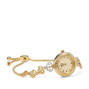 Diamond Slider Watch in Gold Plated Sterling Silver 0.09ct