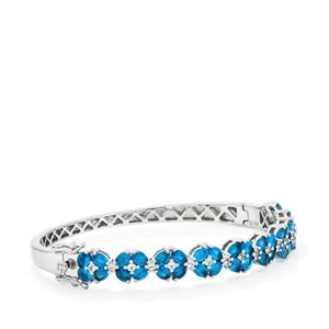 Neon Apatite Oval Bangle with White Topaz in Sterling Silver 7.23cts