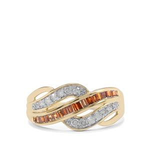 1/2ct Red & White Diamond 10K Gold Ring