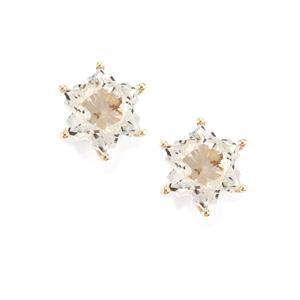 White Topaz Wobito Snowflake Earrings in 10K Gold 5.69cts