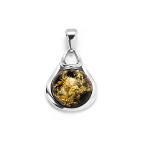 Baltic Green Amber Pendant in Sterling Silver (15mm)