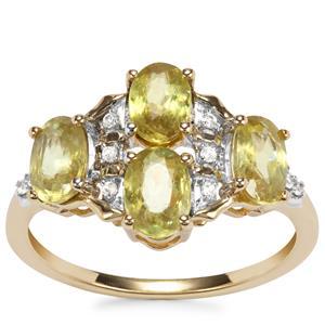 Ambilobe Sphene Ring with White Zircon in 10k Gold 2.28cts