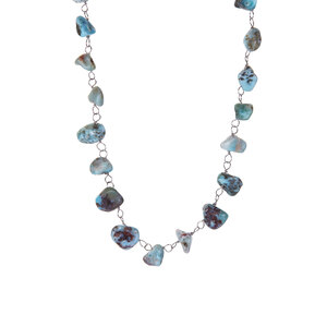 110.00ct Larimar Sterling Silver Necklace