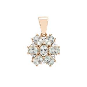 Aquaiba™ Beryl & Diamond 9K Gold Pendant ATGW 1.13cts