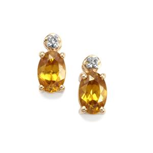 Morafeno Sphene Earrings with Diamond in 9K Gold 1cts