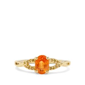 Mandarin Garnet & Yellow Diamond 9K Gold Ring ATGW 1.27cts