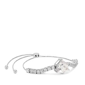 Alpine Cut Optic Quartz Slider Bracelet with White Zircon in 9K White Gold 6.80cts