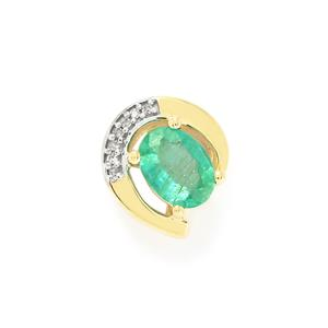 Zambian Emerald Pendant with Diamond in 10k Gold 0.76ct