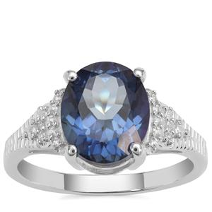 Hope Topaz Ring with White Zircon in Sterling Silver 4.60cts