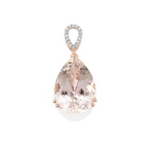 Minas Gerais Kunzite Pendant with White Zircon in 10K Rose Gold 20.30cts