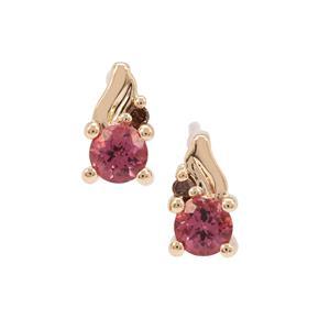 Malaya Garnet Earrings with Champagne Diamond in 9K Gold 0.72ct