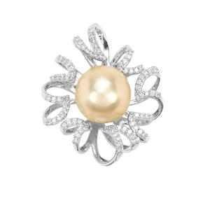 Golden South Sea Cultured Pearl Pendant with Diamond in 18K White Gold (11.30mm)