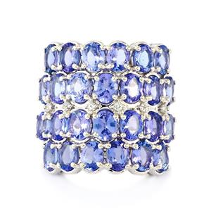 Tanzanite & White Topaz Sterling Silver Ring ATGW 8.71cts