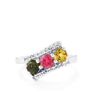 Rainbow Tourmaline Ring with White Topaz in Sterling Silver 1.25cts
