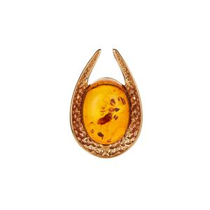 Baltic Cognac Amber Gold Tone Sterling Silver Pendant (32 x 24mm)