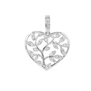 Diamond Heart Pendant in Sterling Silver 0.36ct