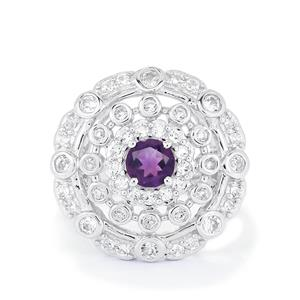 Amethyst & White Topaz Sterling Silver Ring ATGW 1.51cts