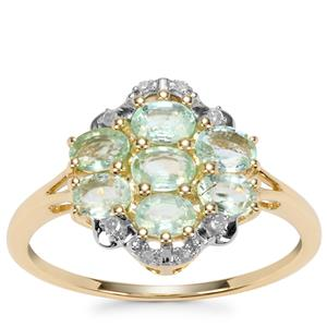 Paraiba Tourmaline Ring with Diamond in 9K Gold 0.85ct