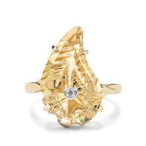 Lehrer Flame Champagne Quartz & Diamond 9K Gold Ring 8.02cts