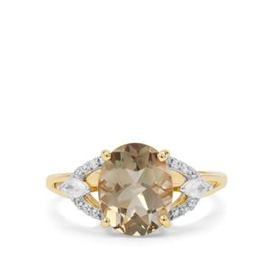 Peacock Parti Oregon Sunstone & White Zircon 9K Gold Ring ATGW 2.60cts