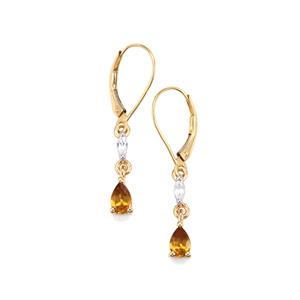 Morafeno Sphene Earrings with White Zircon in 9K Gold 1.10cts