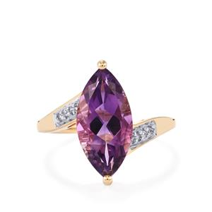 Moroccan Amethyst Ring with White Zircon in 10k Gold 3.53cts