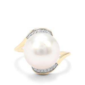 South Sea Cultured Pearl & White Zircon 9K Gold Ring (13X12mm)