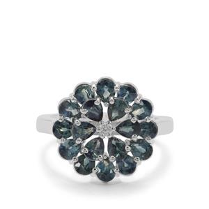 Natural Umba Sapphire Ring with White Zircon in Sterling Silver 3.82cts