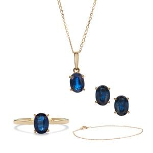 4.19ct Daha Kyanite 9K Gold Set of Ring, Earrings, Pendant, Chain and Bracelet