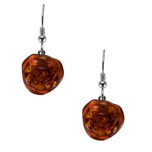 Baltic Cognac Amber Sterling Silver Earrings (15mm)