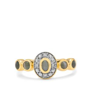 Cats Eye Alexandrite & White Zircon 9K Gold Ring ATGW 0.95ct