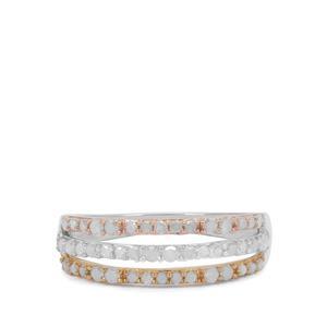 1/2ct Diamond Three Tone Sterling Silver Ring