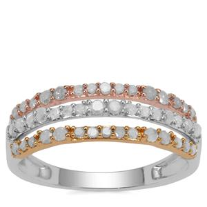 Diamond Ring in Three Tone Gold Plated Sterling Silver 0.51ct
