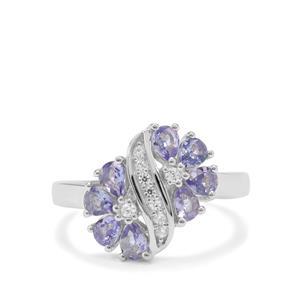 Tanzanite & White Zircon Sterling Silver Ring ATGW 1.15cts