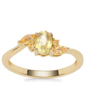 Ambilobe Sphene Ring with Diamantina Citrine in 9K Gold 0.75ct