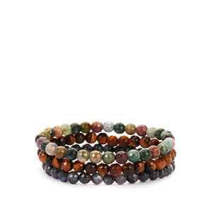 Tiger's Eye, Fancy Agate & Larvikite Set of 3 Stretchable Bracelet ATGW 155.50cts