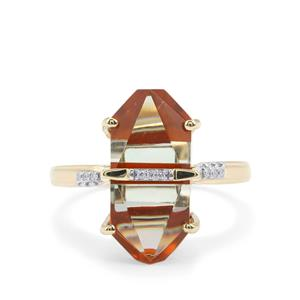 Lehrer Cosmic Obelisk Fire Opal, Prasiolite Ring with Diamond in 10K Gold 7.27cts